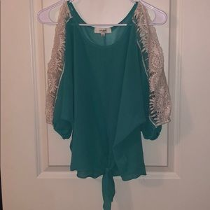 Teal 3/4 sleeve with Lace Shirt